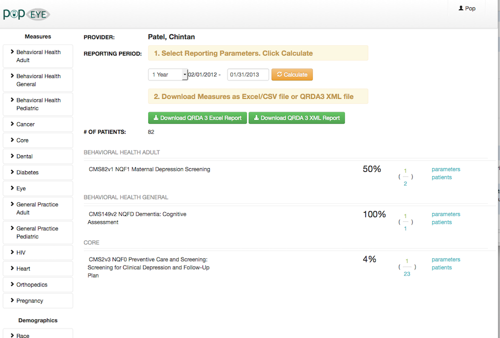 popHealth API Clinical Quality Metrics