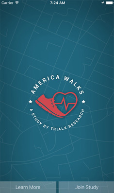 America Walks Study App for TrialX Research.